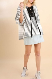 Umgee USA Stripe Bellsleeve Top - Front cropped