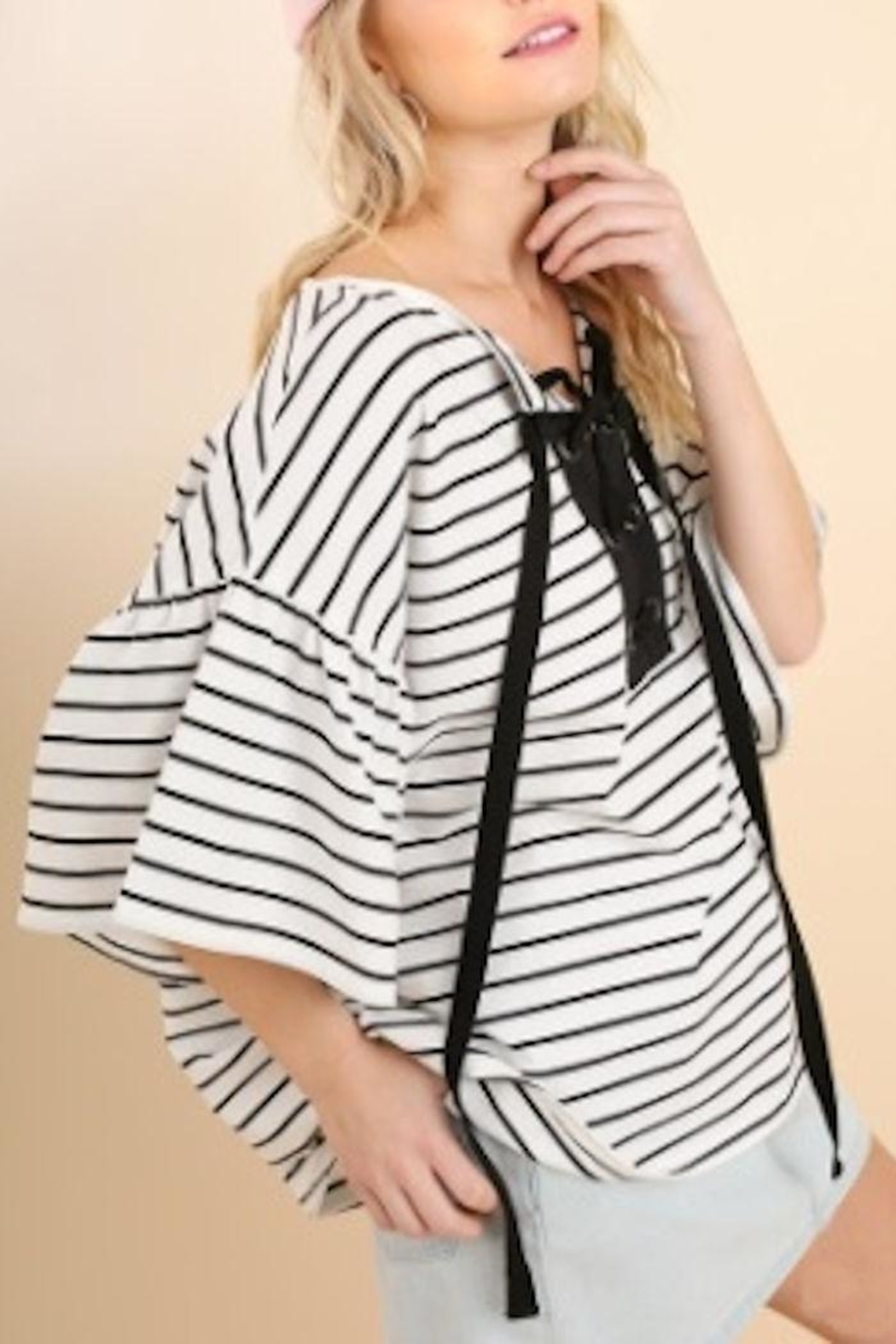 Umgee USA Stripe Bellsleeve Top - Front Full Image