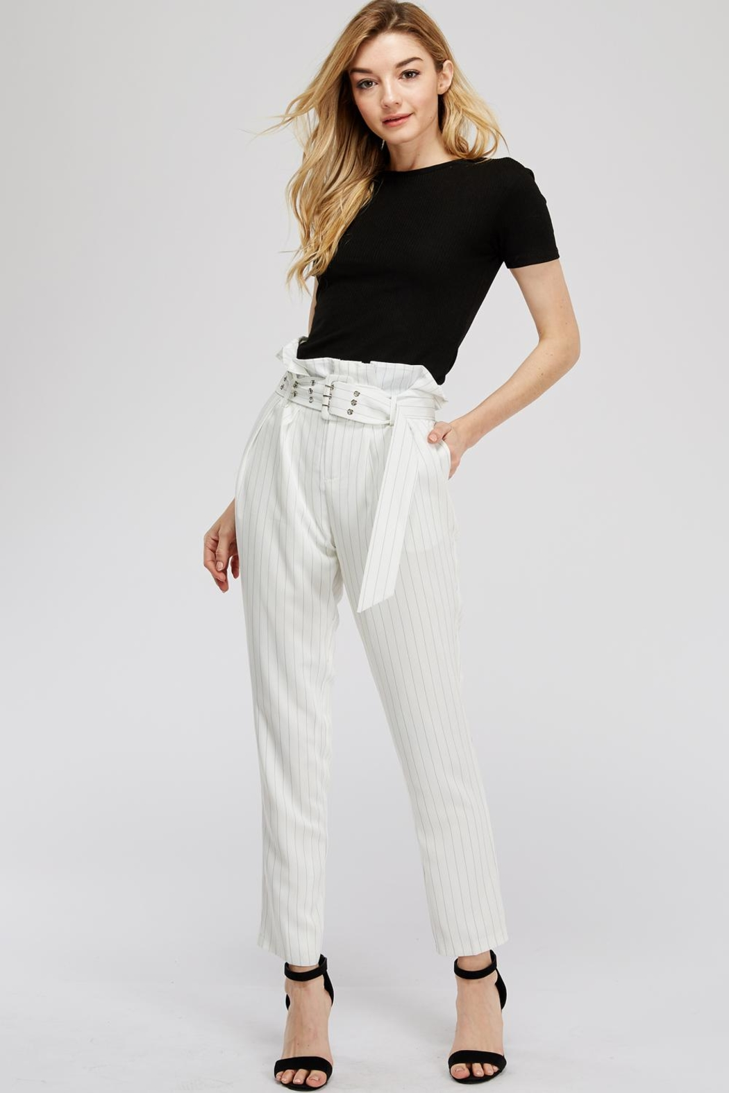 The Sang Stripe Belted Pants - Front Full Image