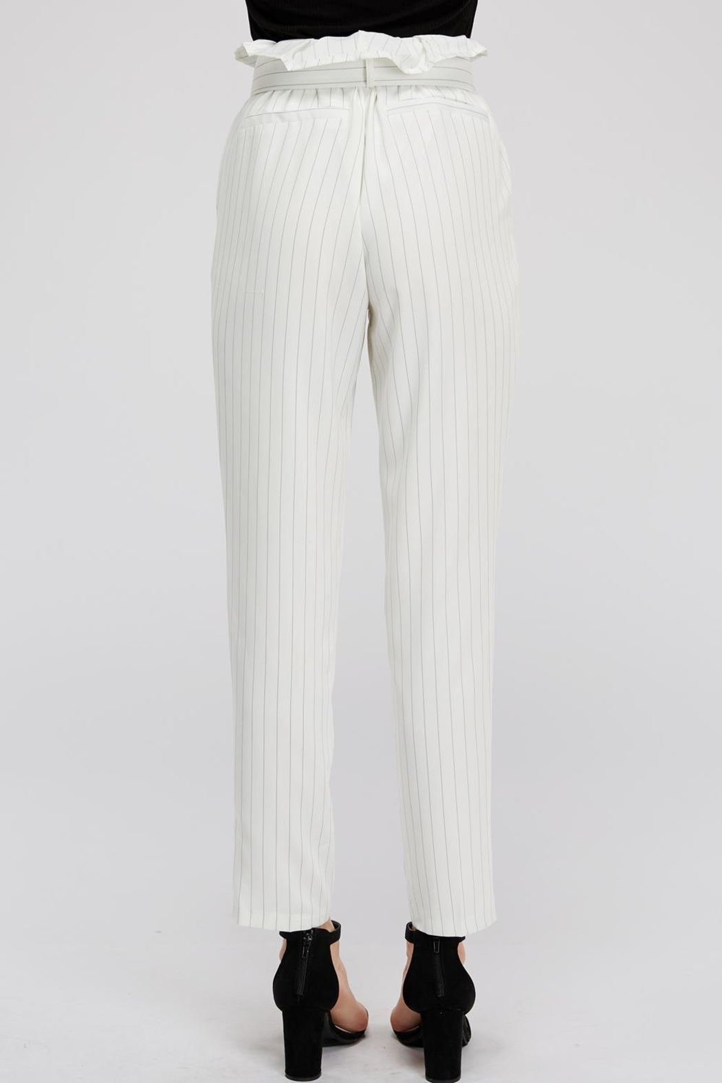The Sang Stripe Belted Pants - Back Cropped Image