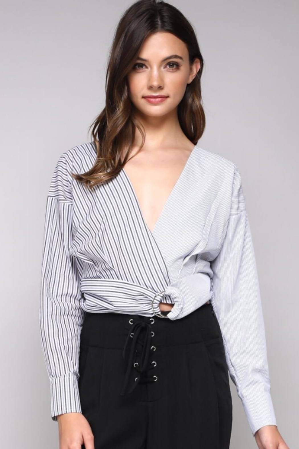 Do & Be Stripe Belted Top - Main Image