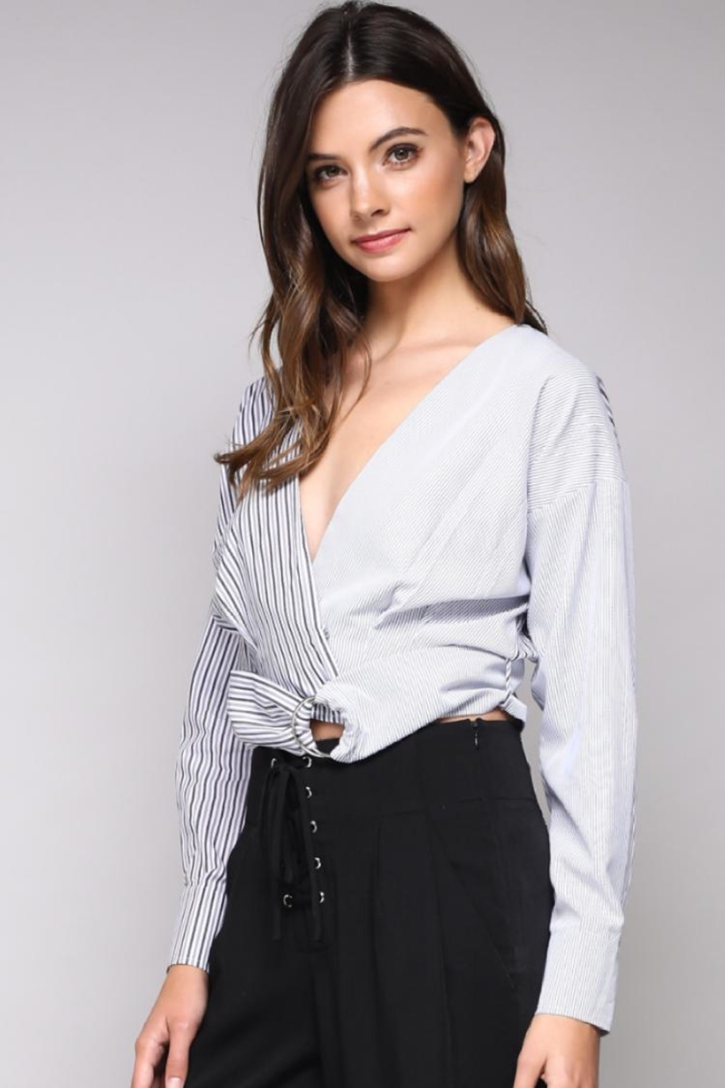 Do & Be Stripe Belted Top - Front Full Image