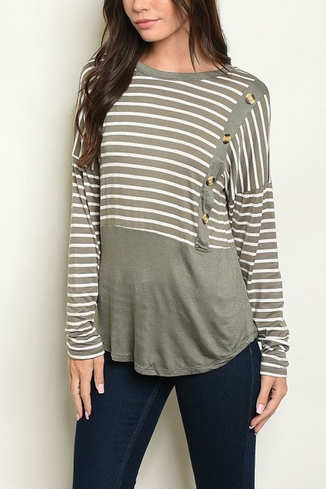 Lyn -Maree's Stripe & Button Top - Main Image