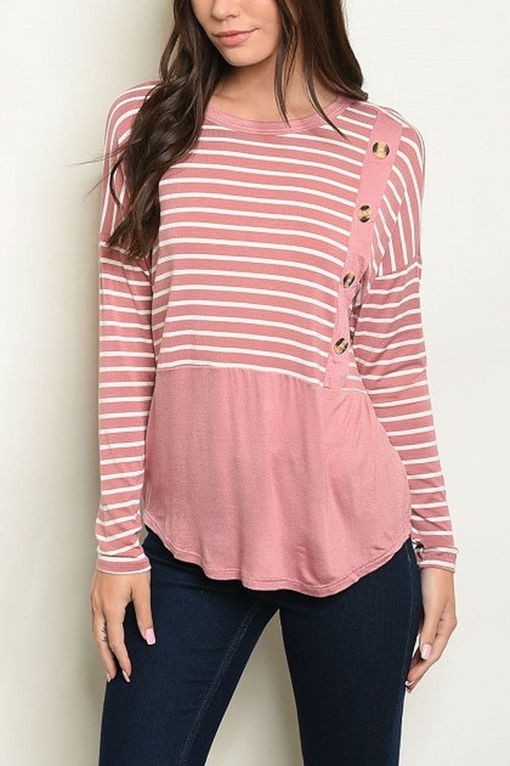 Lyn -Maree's Stripe & Button Top - Front Cropped Image