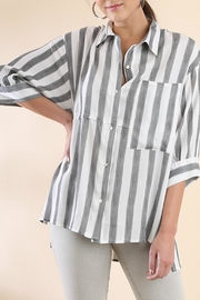 Umgee USA Stripe Button-Up Tunic - Front cropped
