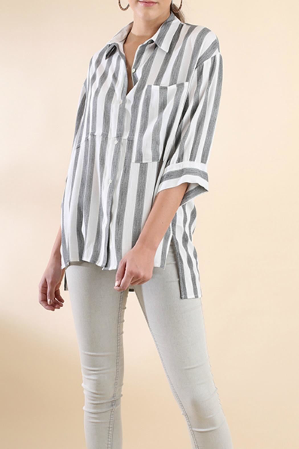 Umgee USA Stripe Button-Up Tunic - Front Full Image