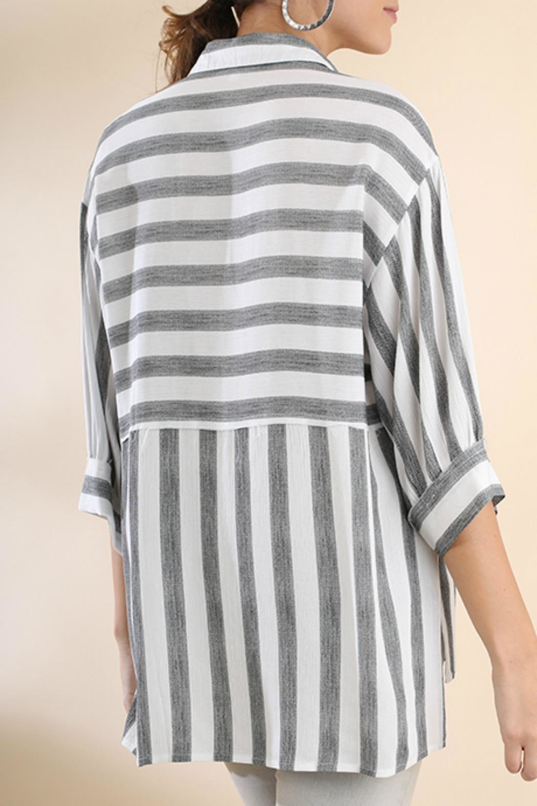 Umgee USA Stripe Button-Up Tunic - Back Cropped Image