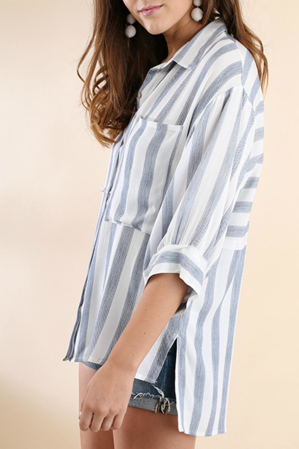 Umgee USA Stripe Button-Up Tunic - Side Cropped Image