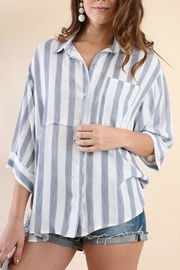 Umgee USA Stripe Button-Up Tunic - Front full body