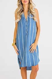 Karlie Stripe Chambray Dress - Front cropped