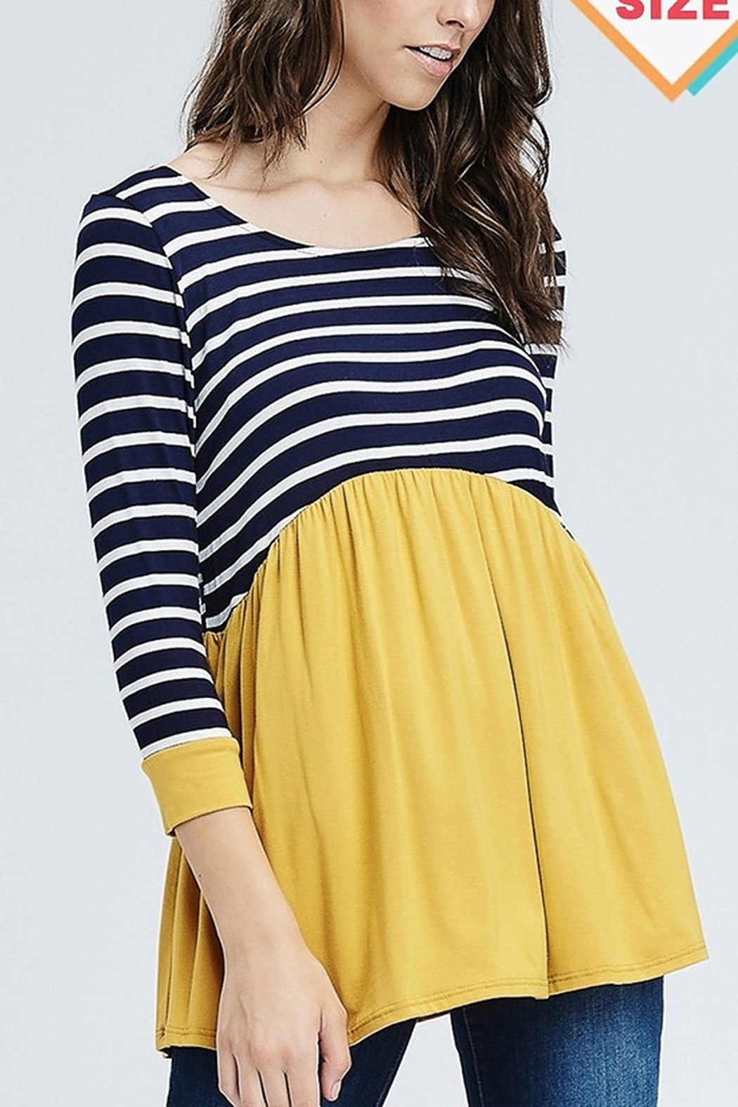 Lyn-Maree's  Stripe Color Block Top - Front Cropped Image