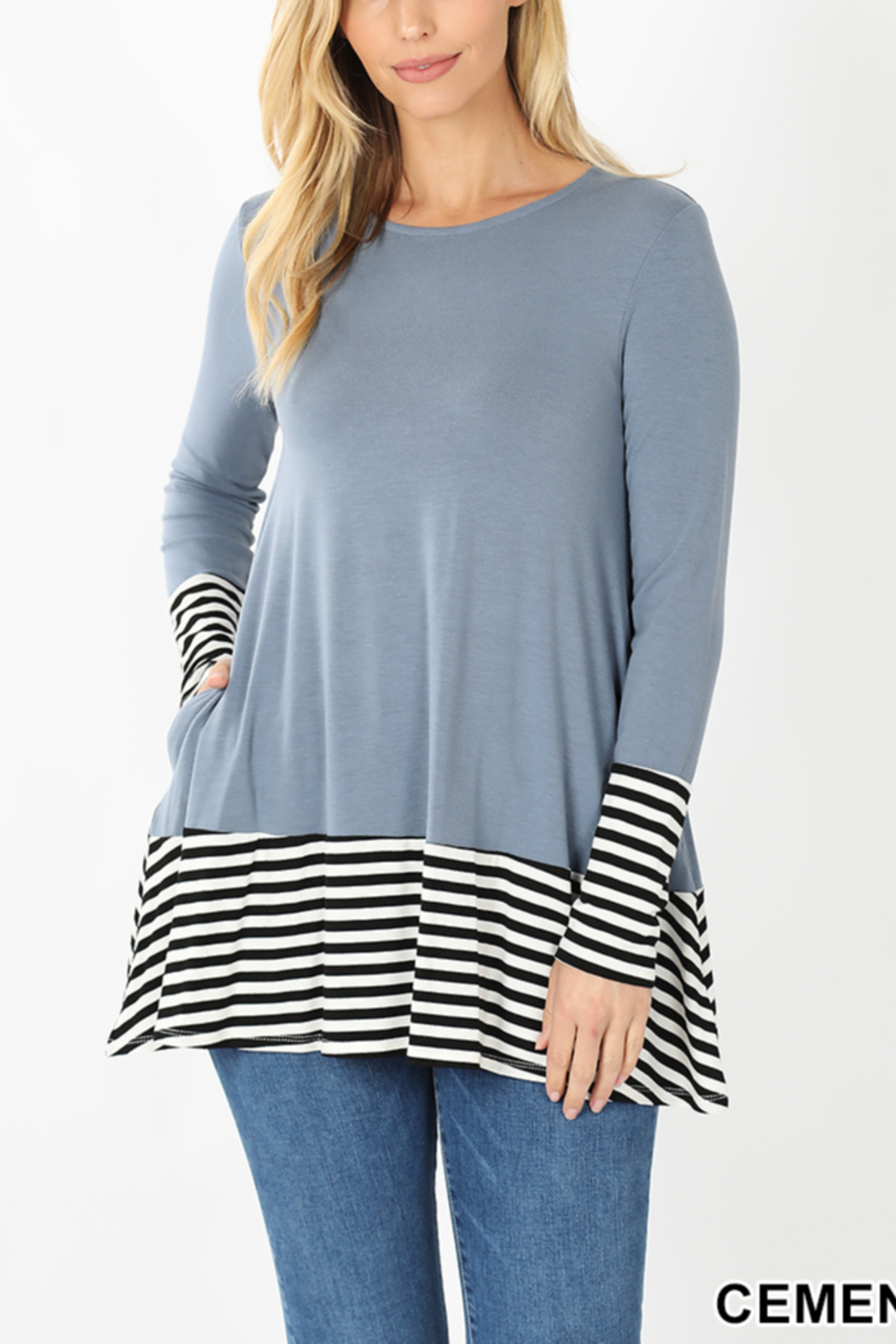 Lyn -Maree's Stripe Contrast Long Sleeve - Front Cropped Image