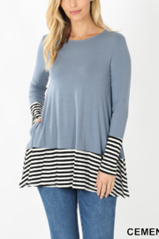 Lyn -Maree's Stripe Contrast Long Sleeve - Front cropped