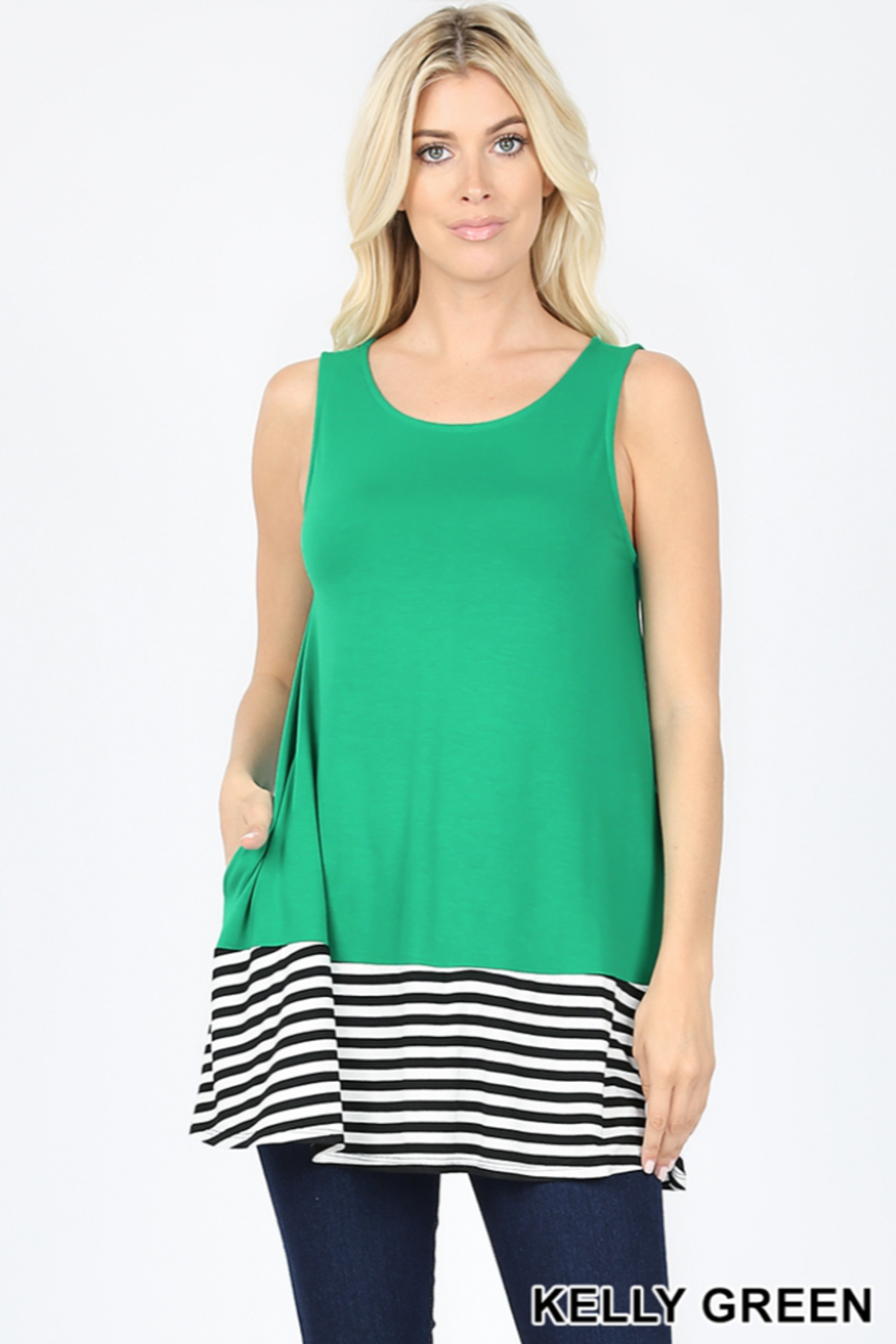 Lyn -Maree's Stripe Contrast Tank - Front Cropped Image