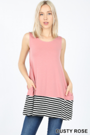 Lyn -Maree's Stripe Contrast Tank - Product Mini Image