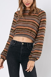 blue blush Stripe Crop Sweater - Product Mini Image