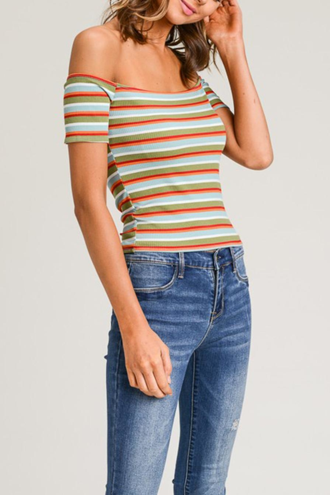 Wasabi + Mint Stripe Crop Top - Front Full Image