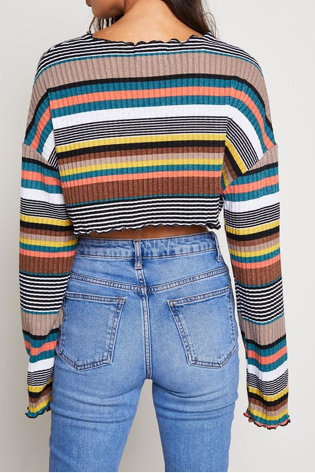 blue blush Stripe Crop Top - Side Cropped Image