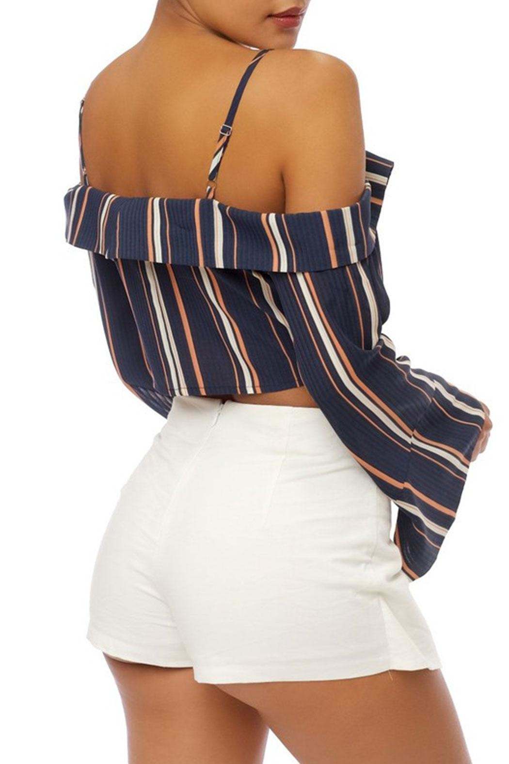 luxxel Stripe Crop Top - Front Full Image