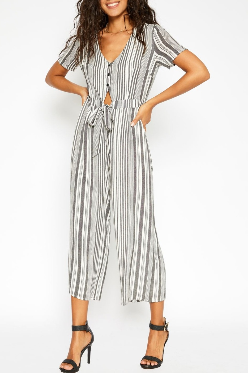 Sadie and Sage Stripe Cut Out Jumpsuit - Main Image
