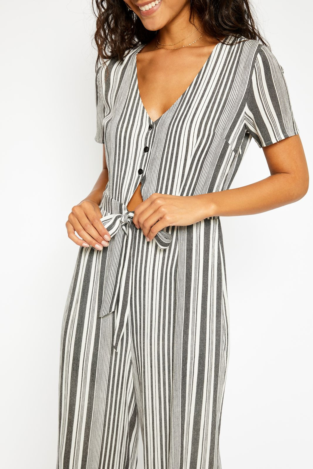 Sadie and Sage Stripe Cut Out Jumpsuit - Front Full Image