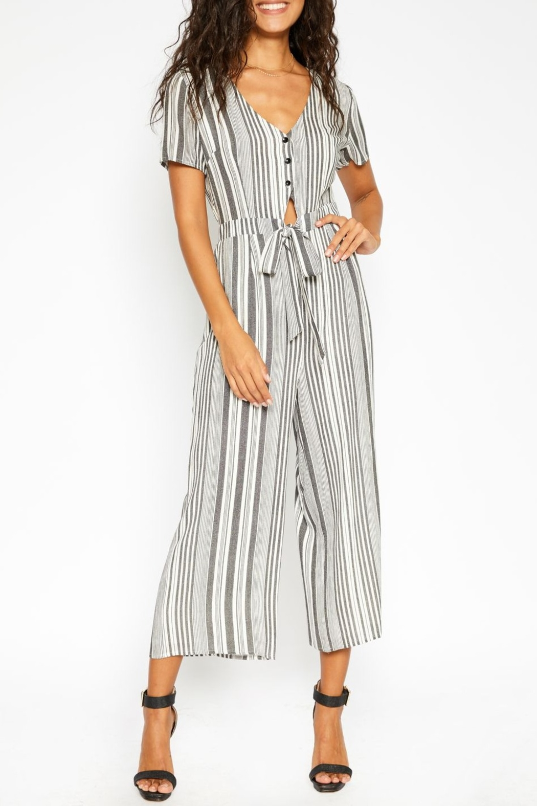 Sadie and Sage Stripe Cut Out Jumpsuit - Back Cropped Image