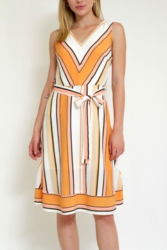 Lara Fashion Stripe Dress Whitbelt - Product List Image