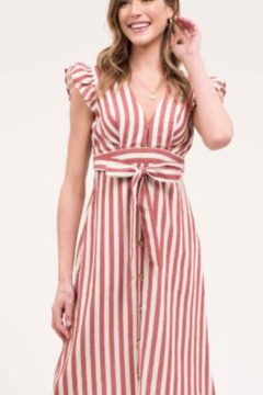 blue pepper  Stripe Dress with Front Tie Belt & Ruffle Sleeve - Product List Image