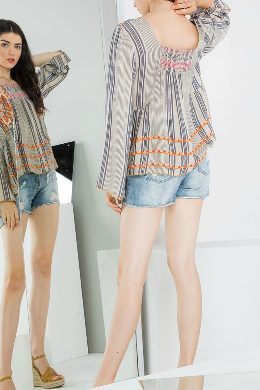THML  Stripe Embroidered Top - Front Full Image