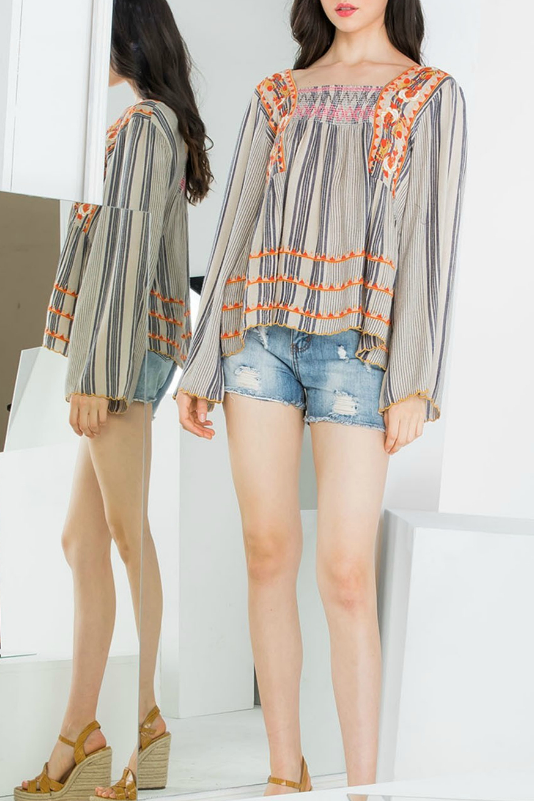 THML  Stripe Embroidered Top - Main Image