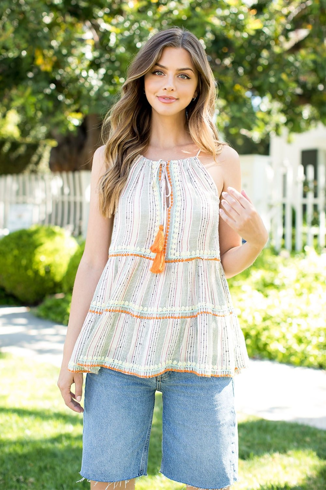 THML Clothing STRIPE EMBROIDERED TOP - Main Image