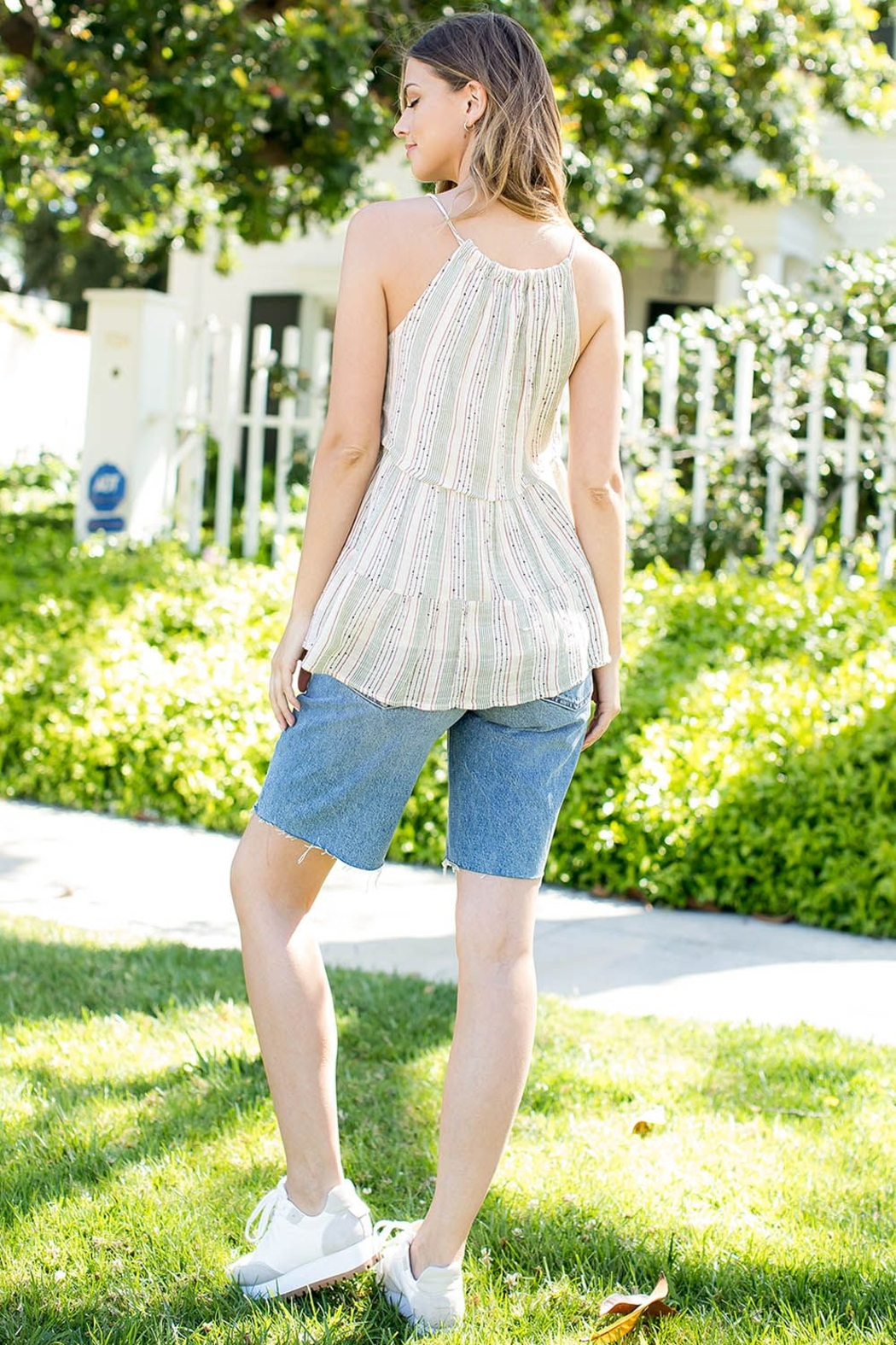 THML Clothing STRIPE EMBROIDERED TOP - Front Full Image