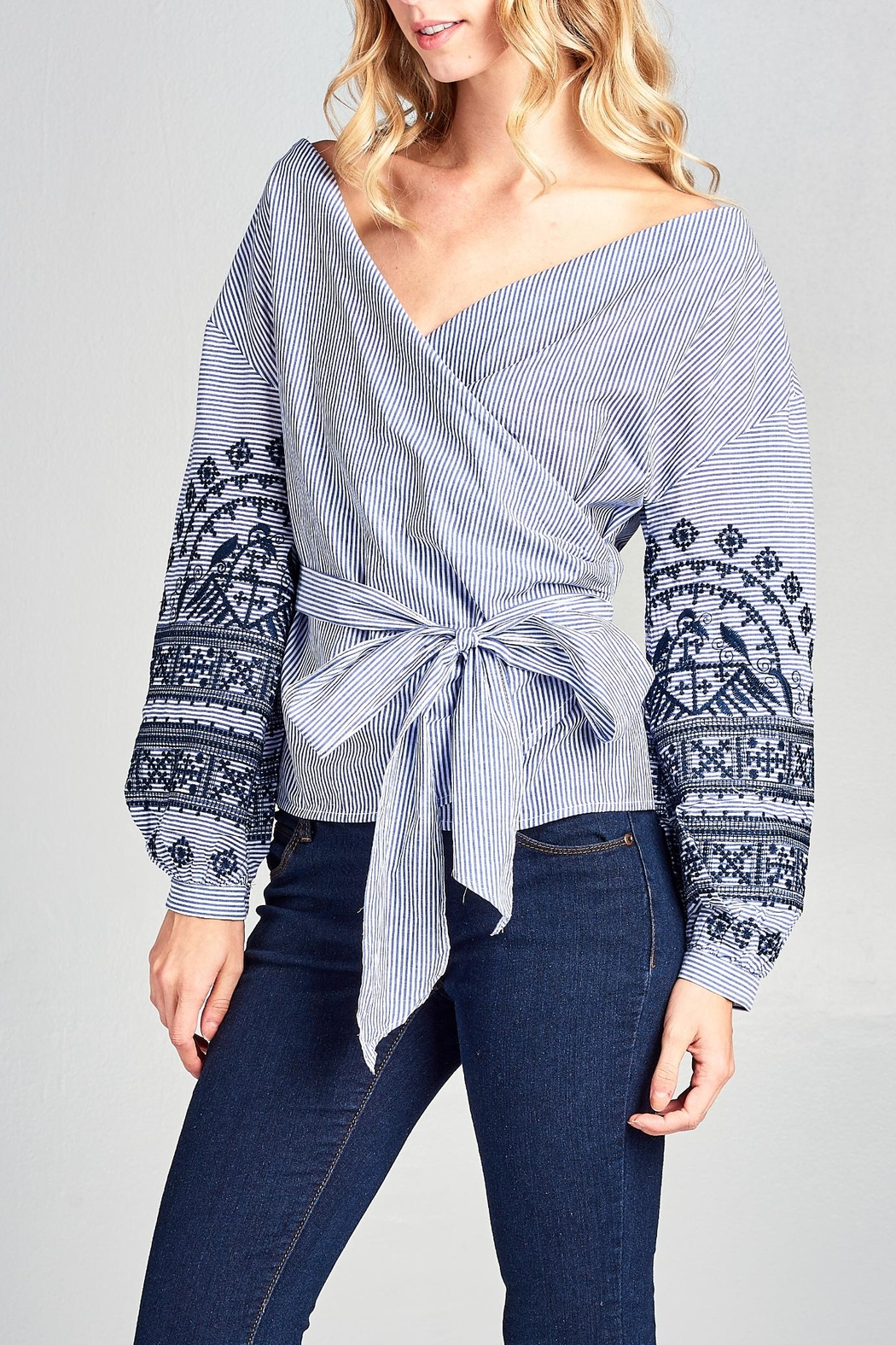 Racine Stripe Embroidered Top - Front Full Image