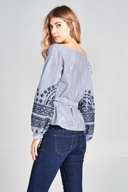 Racine Stripe Embroidered Top - Side cropped