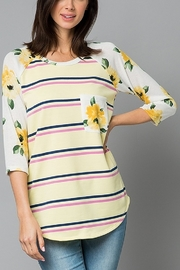 Lyn-Maree's  Stripe & Floral 3/4 Tee - Front cropped