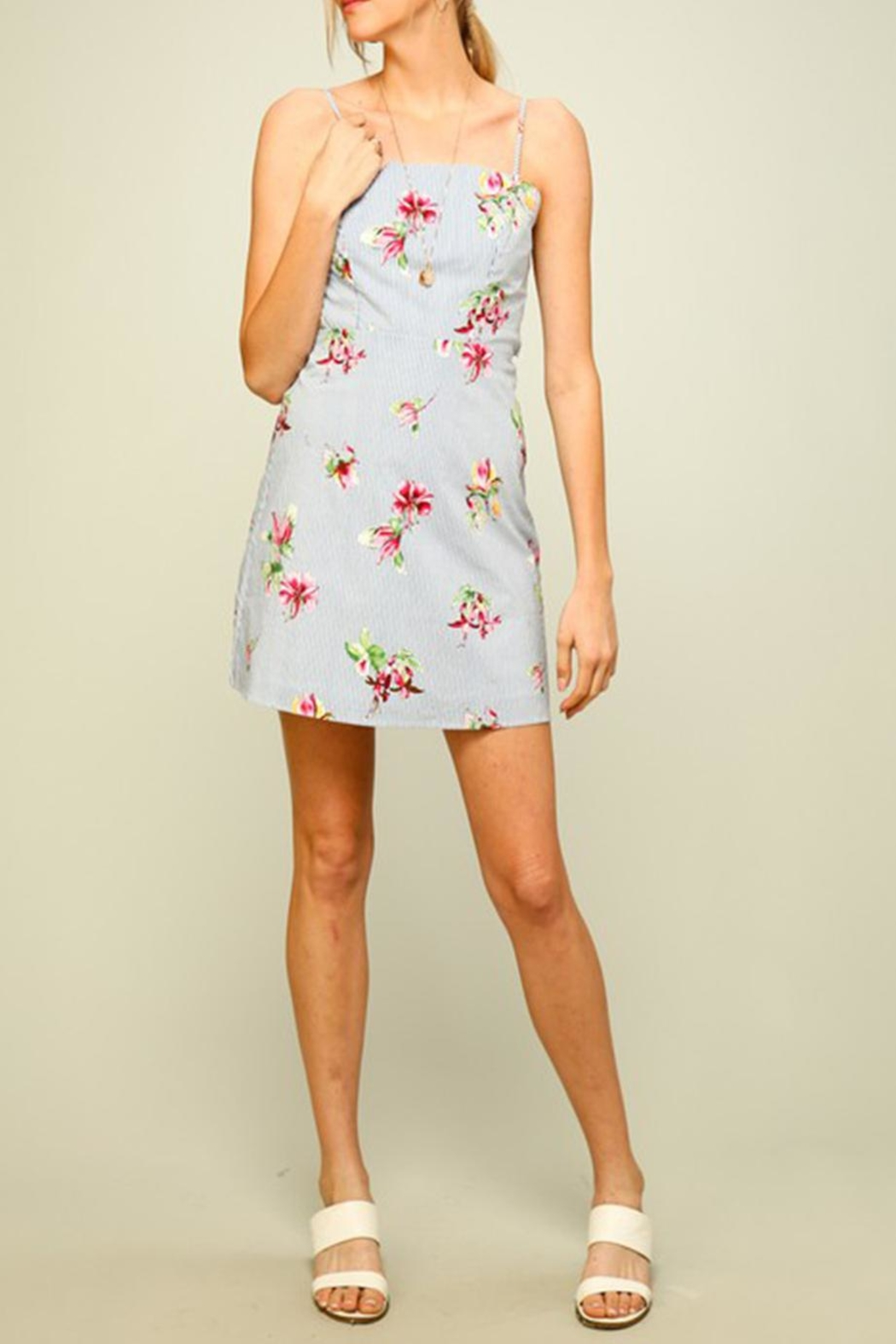 Lumiere Stripe Floral Dress - Side Cropped Image