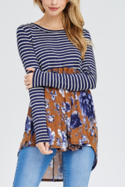 White Birch  Stripe & Floral Long Sleeve T - Product Mini Image