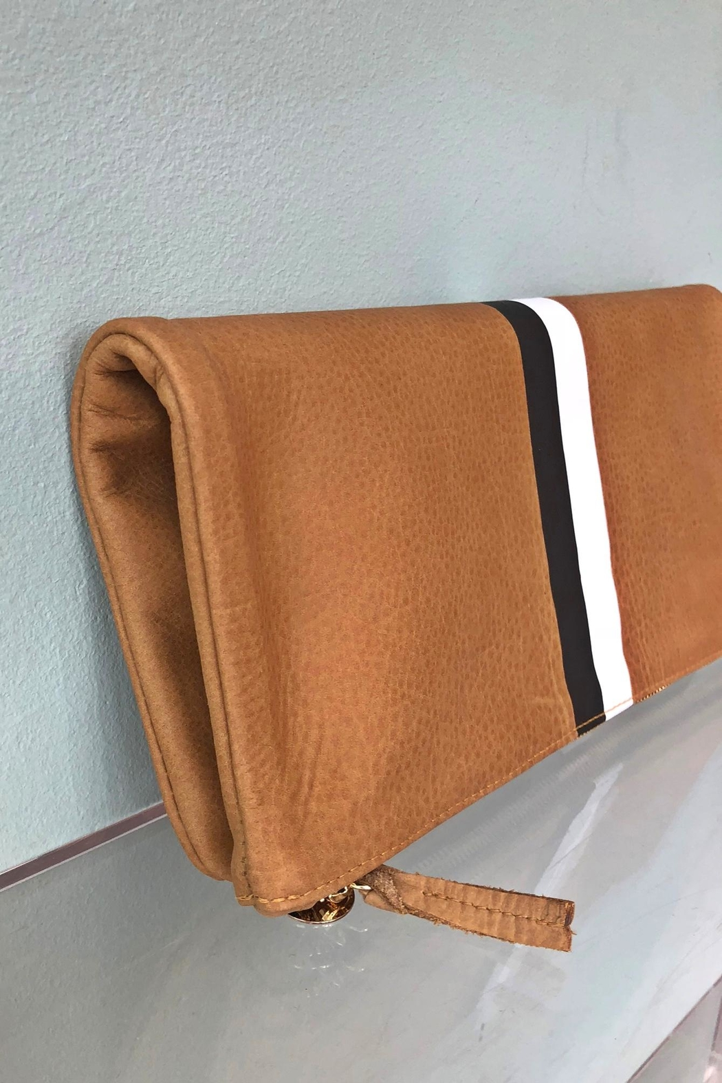 Clare V. Stripe Foldover Clutch - Side Cropped Image