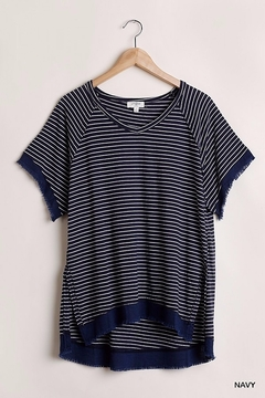 Umgee USA Stripe Frayed Edge Tee - Alternate List Image