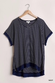 Umgee USA Stripe Frayed Edge Tee - Product Mini Image