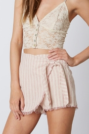 Cotton Candy  Stripe Frayed Skort - Front cropped