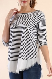 Umgee USA Stripe Frayed Top - Product Mini Image