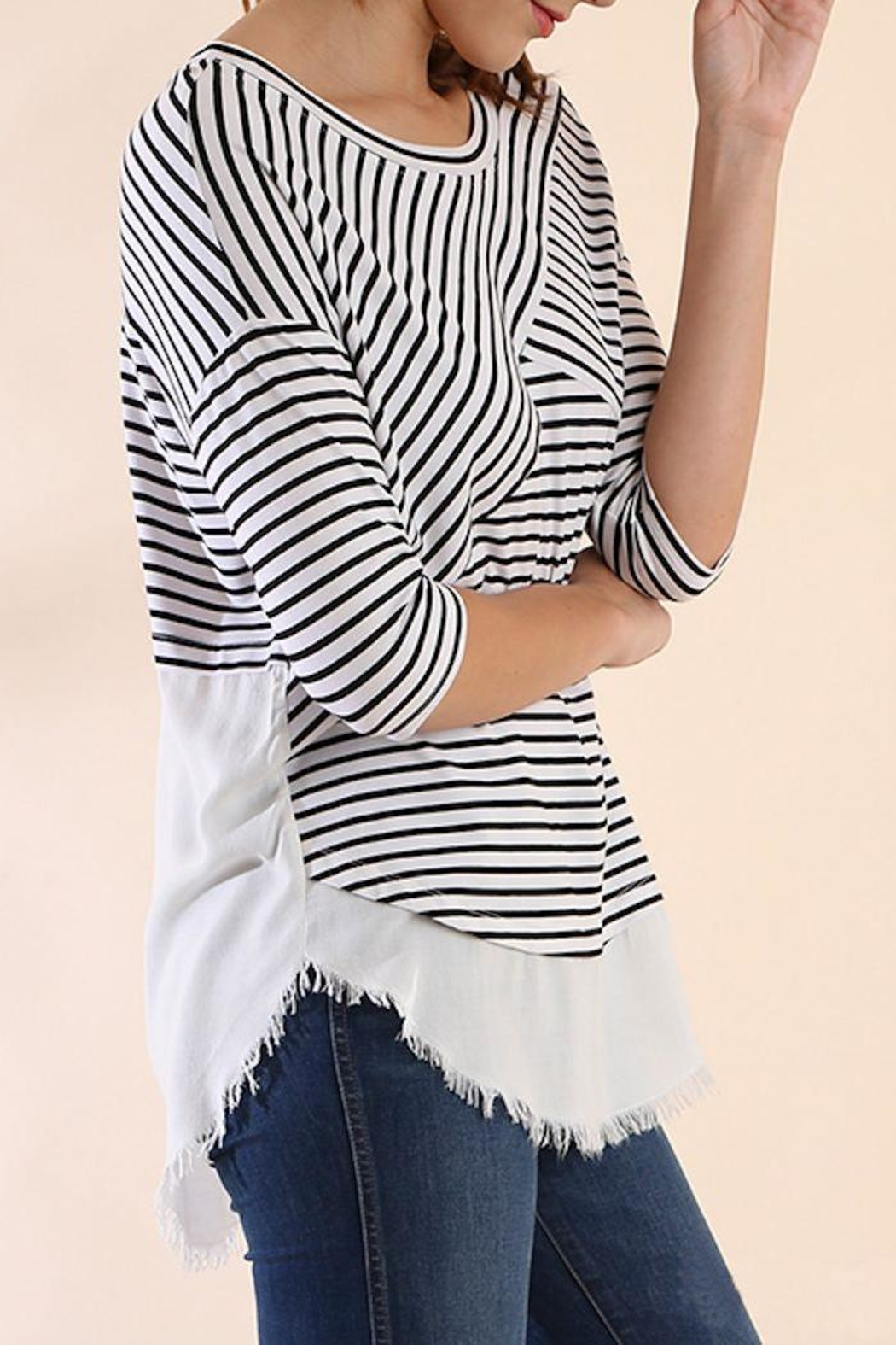 Umgee USA Stripe Frayed Top - Front Full Image