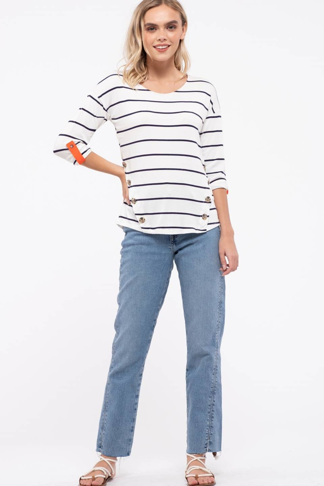 E & M Stripe Front Button Top - Back Cropped Image