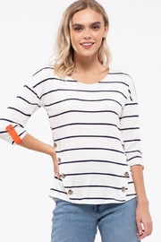 E & M Stripe Front Button Top - Front cropped