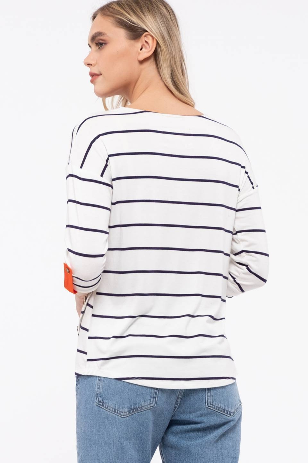 E & M Stripe Front Button Top - Side Cropped Image