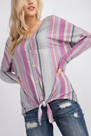 143 Story Stripe Front-Tie Top - Product Mini Image