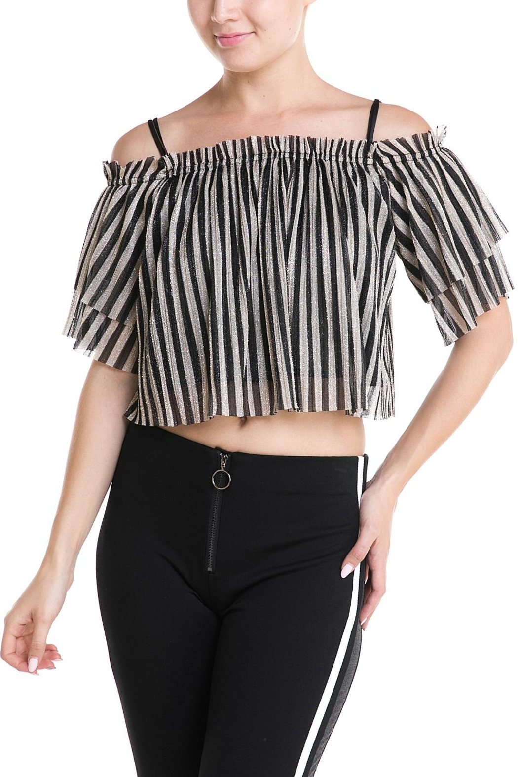 Mad For Love Stripe Glitter Top - Front Cropped Image
