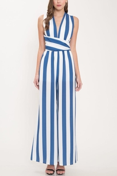 Latiste Stripe Halter Jumpsuit - Product List Image
