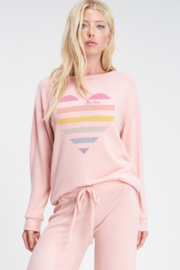Phil Love  Stripe Heart Lounge Top - Front cropped